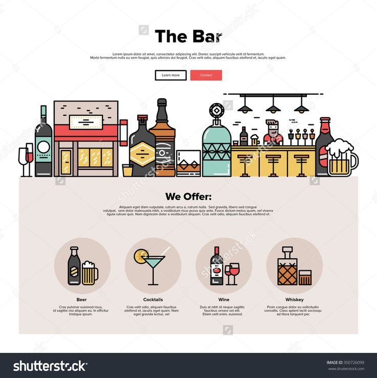 One Page Web Design Template With Thin Line Icons Of Local Bar Counter, Small Town Pub Building, Various Alcohol Bottles With Glasses. Flat Design Graphic Hero Image Concept, Website Elements Layout. Стоковая векторная иллюстрация 350726099 : Shutterstock
