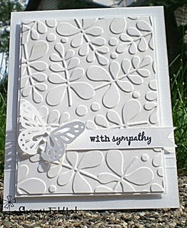 white on white.  (embossing folder result is so vivid?)Cards Ideas, Sympathy Cards, White Sympathy, White On White, Buttons Junkie, Butterflies Cards, Greeting Card, White Cards, Paper Crafts