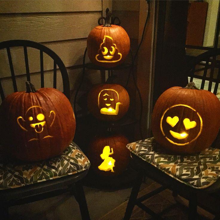 emoji pumpkins - Decoration Citrouille Pour Halloween