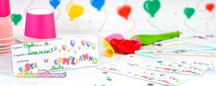 Simpatici biglietti invito compleanno per bambini da stampare gratis. Sono allegri e colorati e vanno bene per tutte le età.