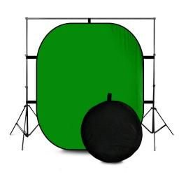 This collapsible chroma key background is twist flex for easy folding and storage. The twisted, collapsed backdrop is portable and packaged in a carry case for convenience.