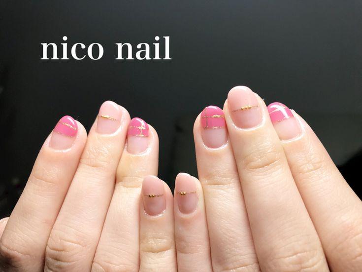 浜松市 中区 自宅ネイルサロン nico nail ニコネイル:2色ピンクのストレートフレンチネイル