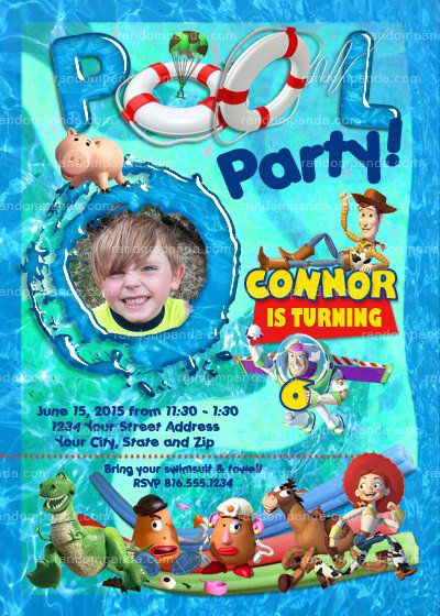 Personalize Toy Story Pool Party invitation Buzz Lightyear | Etsy