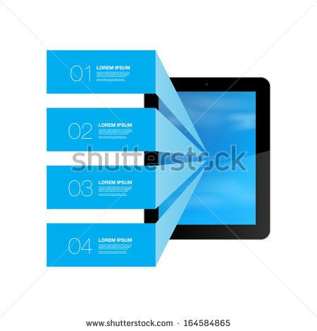 Blue text boxes with realistic 3d tablet computer with blue sky wallpaper  Eps 10 vector illustration