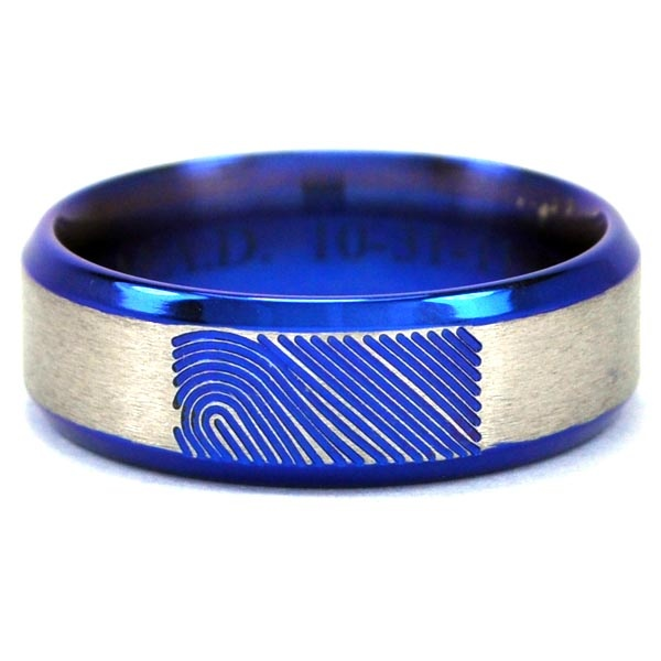 Fable Designs Titanium Anodized Blue Finger Print Ring