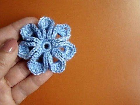 Crochet 8-petal 3D Flower Tutorial 5 3D Blume häkeln - YouTube