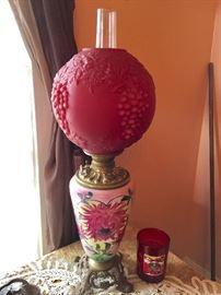 Cranberry colored globe lamp