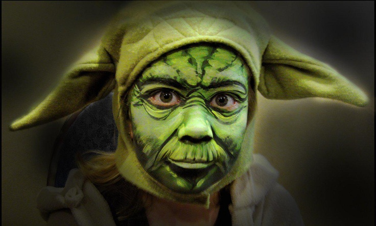 yoda face painting two fasching yoda kost m. Black Bedroom Furniture Sets. Home Design Ideas