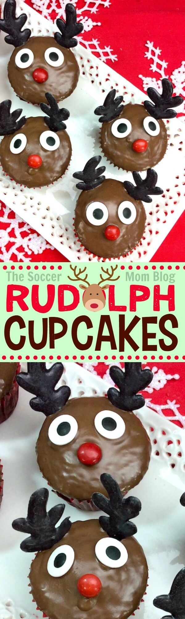 Quirky & cute Rudolph Cupcakes are easy to make and will be the star of this year's Christmas party! Fun to make kids holiday dessert recipe. #Christmas #cupcakes via @https://www.pinterest.com/soccermomblog