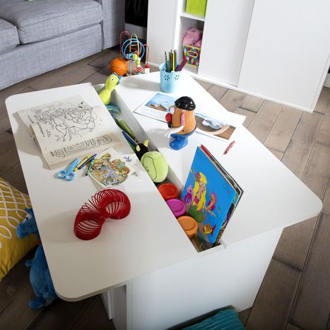 Kids Activity Table with Toy Box on Wheels Stor it.