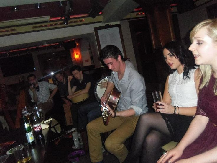 Musicians celebrating Christmas reunions and homecoming in Crocketts on the Quay, Ballina, Mayo