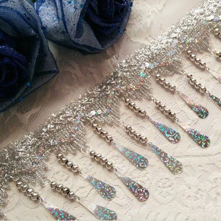 11 см Ширина Бахромой Золотые и Серебряные Блестками ленты кружевной отделкой лента кос аксессуары купить на AliExpress