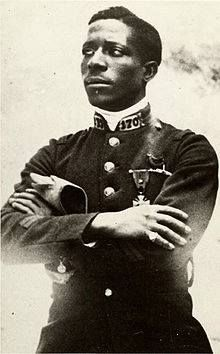 Eugene Bullard an African American aviator and the first black military pilot was born in 1895.  When the US entered WWI, Bullard was not accepted into American service because African Americans were barred from flying. Bullard transferred to the French infantry in January 1918, where he served until the Armistice. In 1954, the French invited Bullard to participate in rekindling the eternal flame at the Tomb of the Unknown Soldier and in 1959, he was made a chevalier of the Legion of Honor.