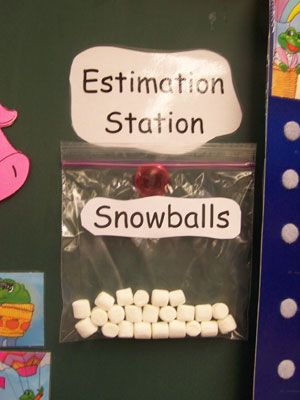 Lots of winter activities    This one would be cute with a little bucket or something next to it for students to write guesses on and than check at the end of the week
