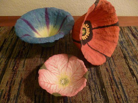 Paper Mache Flower Bowls by Kelly