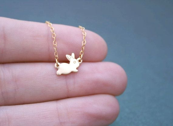 Tiny Baby Bunny Necklace Gold  Delicate Necklace by amandadeer