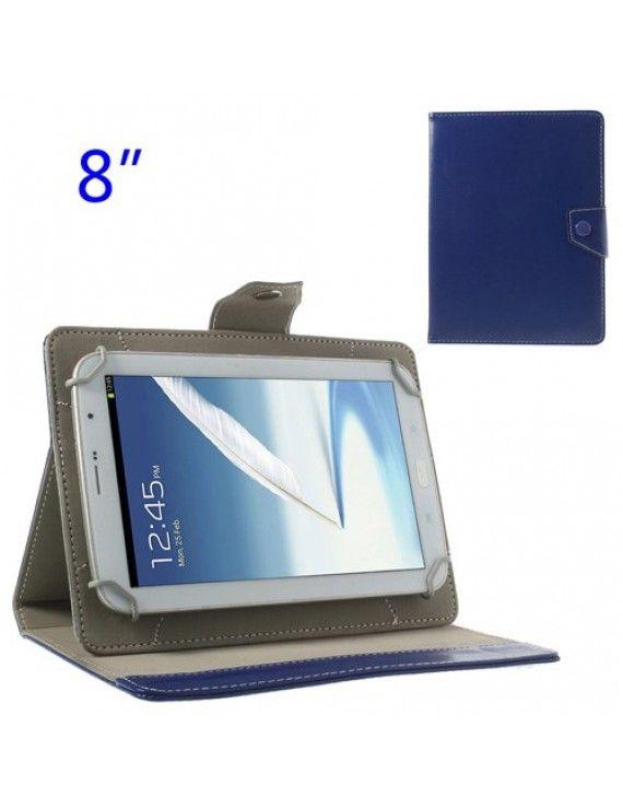 Universal Δερμάτινη Θήκη Βιβλίο με Βάση Στήριξης για iPad Mini 2 / Samsung N5100 N5110 Tablets 8 ιντσών - Μπλε