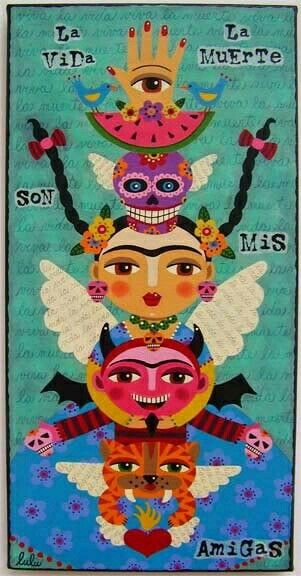 Day Of The Dead Frida Kahlo Totem X Canvas Painting La Vida Y Muerte Son Mis Amigas By LuLu Mypinkturtle TranslatedLife And Death Are My Friends