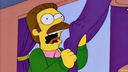 ¡AHHH! Cortinas moradas; siempre quise tener cortinitas moradas; ¡AHHH!  Ned Flanders     - También te puede interesar -     Campanill...