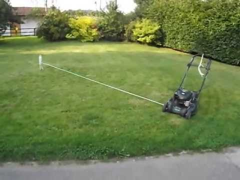 Tethered Lawn Mower Hack. Lazy mowing~too funny...and tempting!!!
