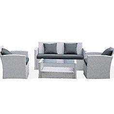 Diana Chat Set - Grey Wicker, Dark  Grey Cushions