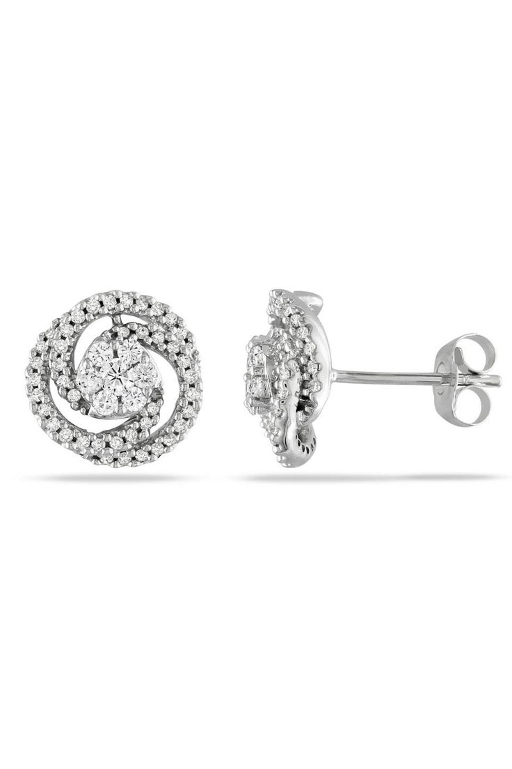 1/2 ct Diamond Circle Earrings in 14k White Gold