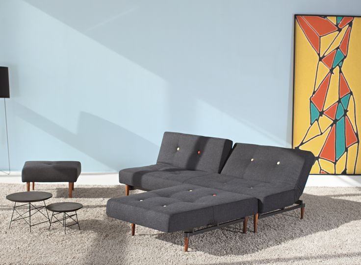 Fiftynine sofa bed and chair with multi-colour buttons