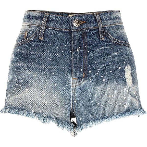 River Island Mid blue paint splatter denim hot pants found on Polyvore featuring shorts, bottoms, pants, blue, denim shorts, women, blue jean shorts, mini shorts, hot pants and micro shorts