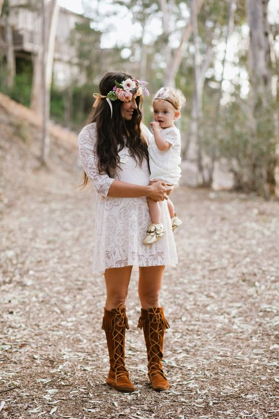 How Cute! Liking the dress paired with our Front Lace Up Knee Hi Boot!  Mother-Daughter photos by En Pointe Photography | 100 Layer Cakelet