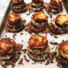 Eggplant Parmesan Stacks • healthy baked breaded eggplant stacked with thick rich tomato sauce and two cheeses • Panning The Globe