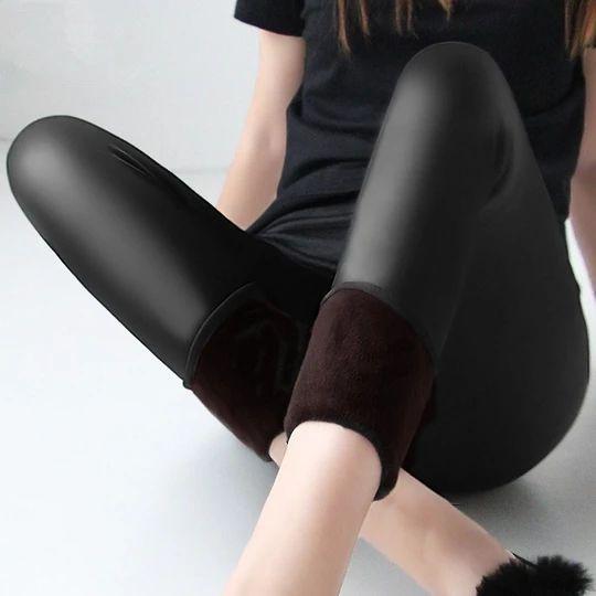 Winter warm 100kg fat MM plus size women plus velvet solid color imitation leather high waist pants Leggings 6XL femme MZ1097 Winter warm 100kg fat MM plus size women plus velvet solid color imita – geekbuyig