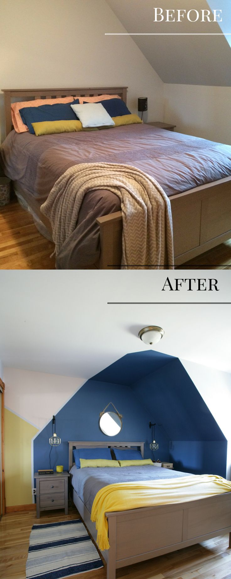 Before and after of a bedroom in an attic where I used the ceiling to paint a headboard that looks like a house. I used blue paint above the bed and created color blocks in yellow and pink / Avant après d'une chambre sous une mansarde ou les pentes du plafond ont été utilisées pour créer une tête de lit en forme de maison grâce à la peinture bleu marine.