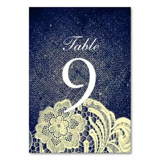 rustic navy blue burlap lace country wedding table cards