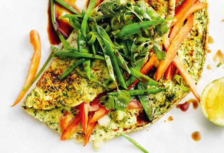 Spinat-Omelett mit Kaiserschoten und Paprika
