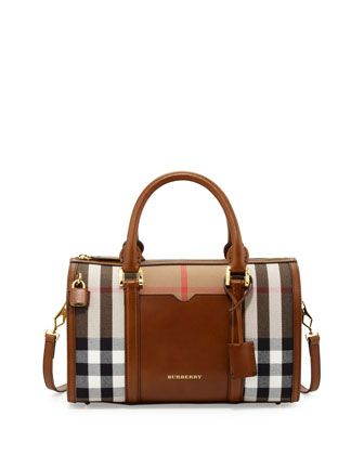 Check & Leather Medium Satchel Bag, Brown by Burberry at Neiman Marcus.