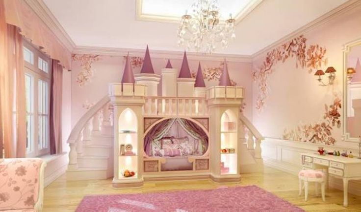Bedroom  The Princess Castle Bedroom  The Princess Castle Bed With Bookshelves And Stairs
