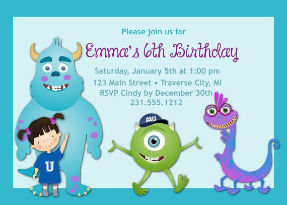 161 best kids birthday party invitations images on pinterest monsters inc birthday invitation kids birthday party invitation stopboris Image collections