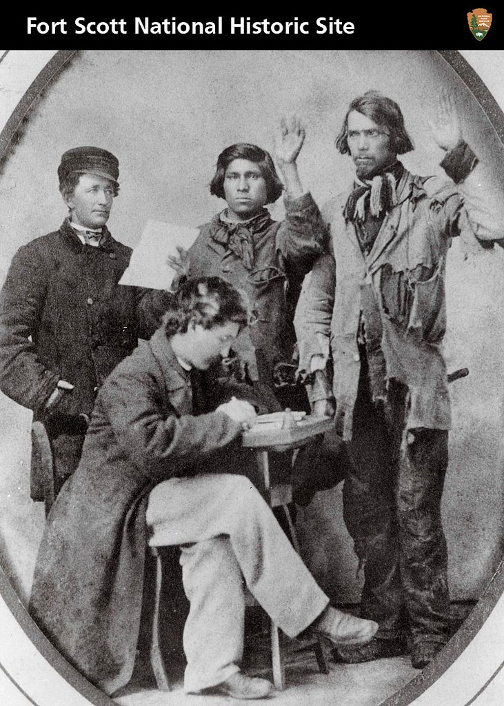 The Union Army formed the Indian Home Guard by recruiting American Indians to fight in Indian Territory. These effective troops were supplied by freight wagons from Fort Scott.
