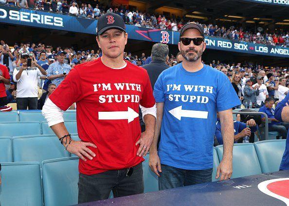 Matt Damon And Jimmy Kimmel Bury Hatchet At World Series Matt Damon Jimmy Kimmel World Series Shirts
