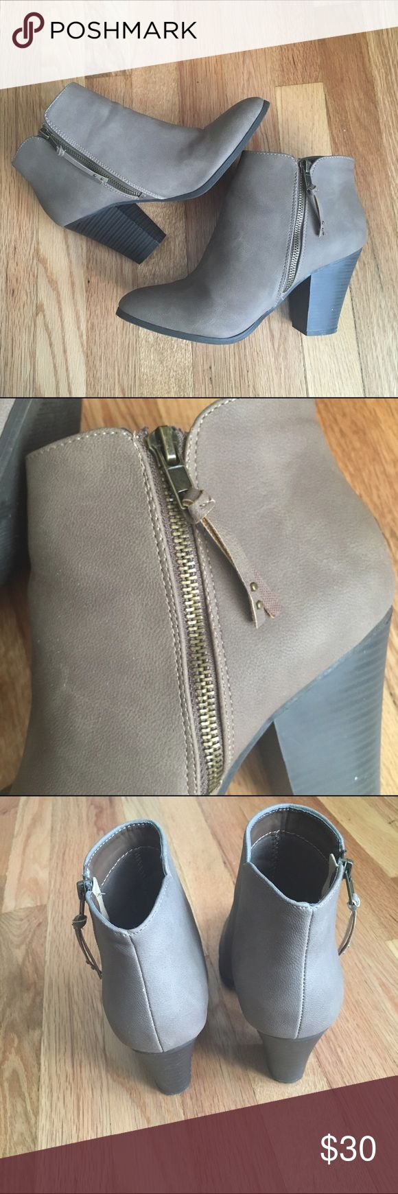 Charlotte Russe Taupe Booties PERFECT FOR FALL! These booties were only worn twice, like new condition. Charlotte Russe Shoes Ankle Boots & Booties