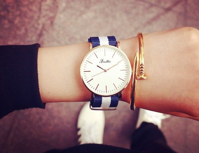 Zegarek Złoty nylonowy pasek Unisex Paski EdiBazzar