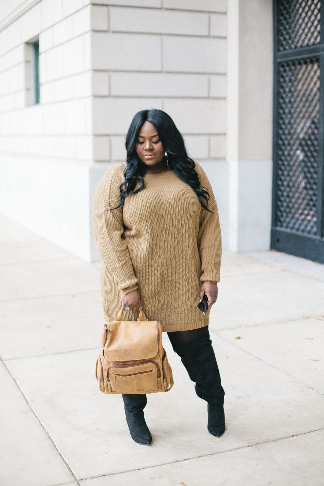 Musings of a Curvy Lady, Plus Size Fashion, Fashion Blogger, Florida Blogger, Sweater Dress, BooHoo, Plus, Over the Knee Boots, Eloquii, Leather Backpack, Winter Fashion, Chic Fashion, Women's Fashion, Style Hunter, #REALOUTFITGRAM, The Outfit, People StyleWatch