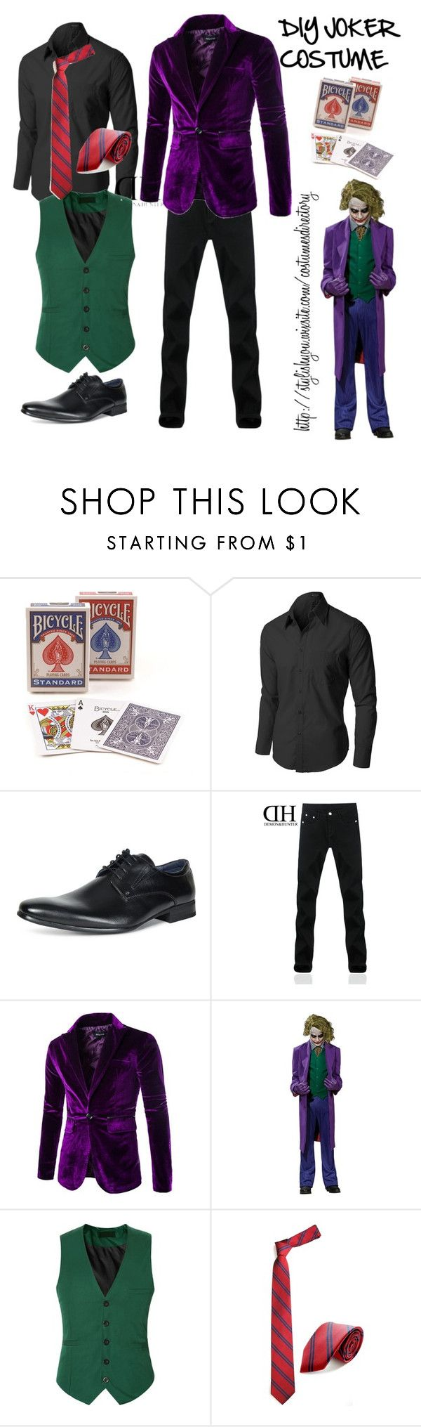 """DIY JOKER COSTUME FOR MEN"" by crestienne ❤ liked on Polyvore featuring men's fashion, menswear, DIY, outfit, batman, men and joker"