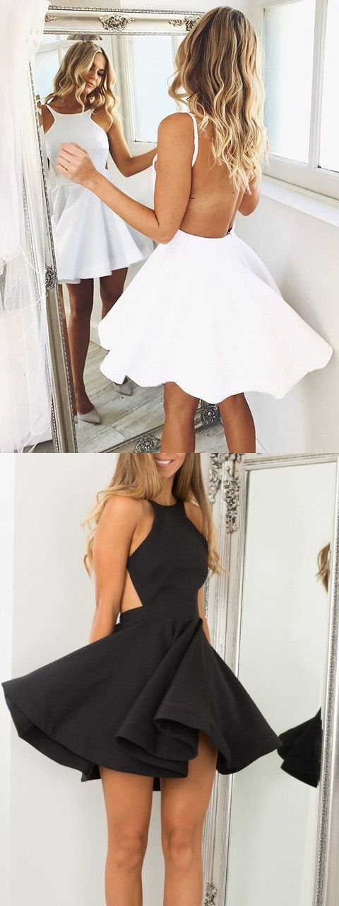 2017 short homecoming dress, white homecoming dress, backless homecoming dress, black short homecoming dress