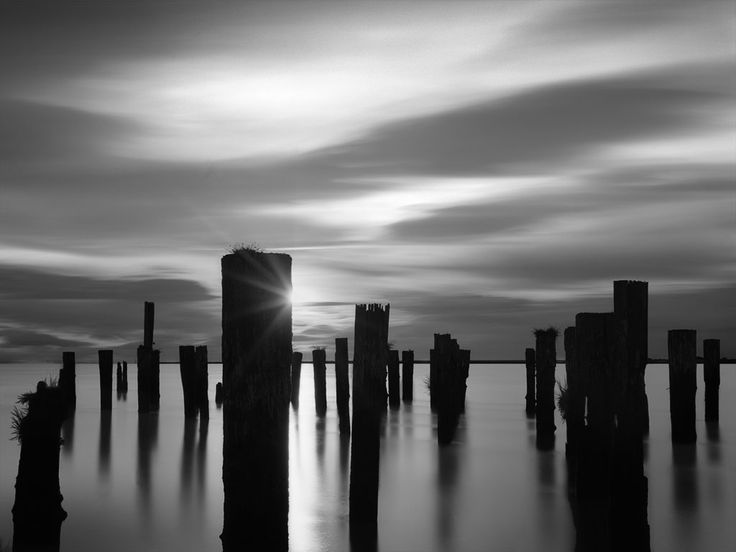 Wood pilings and sunset | Lawrence Hislop Photography