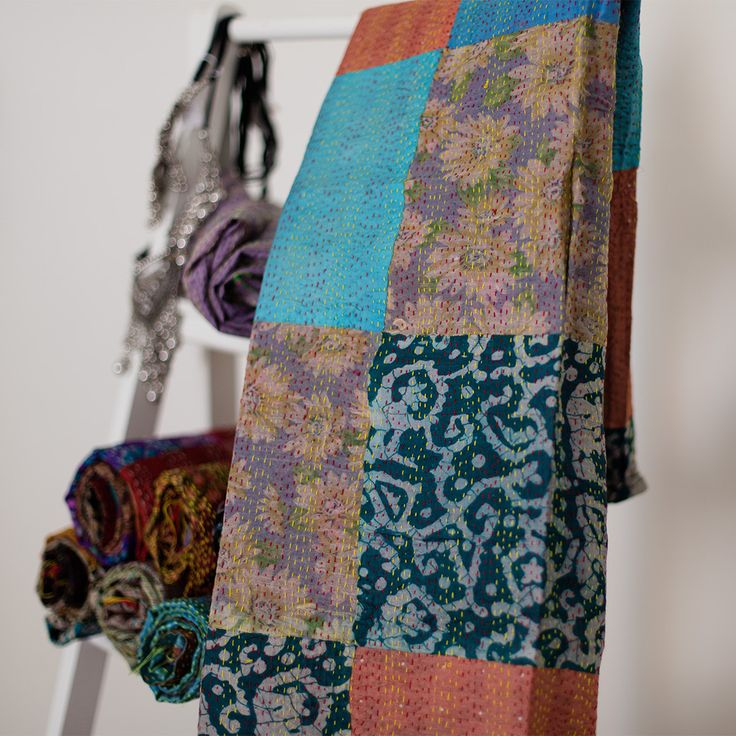 Kantha Silk Scarf 102 | The Hues of India