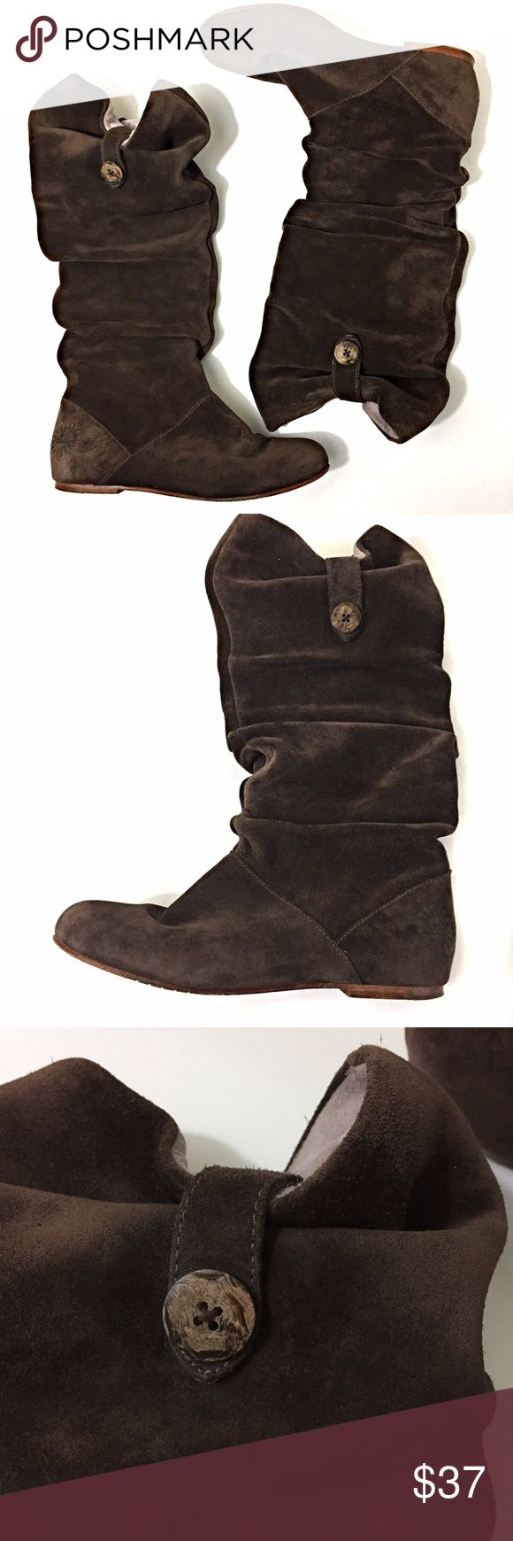 Ugg Highkoo II Dark Brown Suede 1948 Button Boots UGG Australia Uggs Highkoo II 1948 Womens U.S. size 6 EU 37  Dark espresso brown suede with button Slouchy Pre-owned, some wear on the soles.  Overall good condition as seen in the photos. UGG Shoes