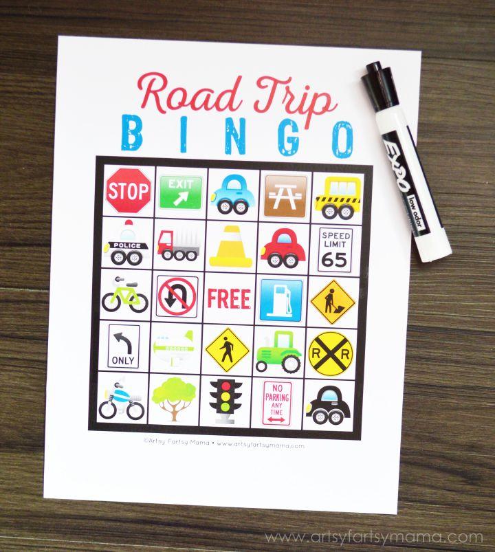 Free Printable Road Trip Bingo at artsyfartsymama.com