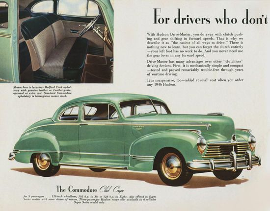 Hudson Commodore Club Coupe 1946 - Mad Men Art: The 1891-1970 Vintage Advertisement Art Collection