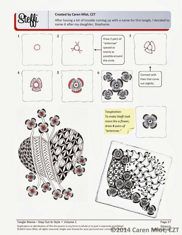 ZENTANGLE® PATTERN E-BOOK - Step Out in Style - Volume 1 - Step-by-step…